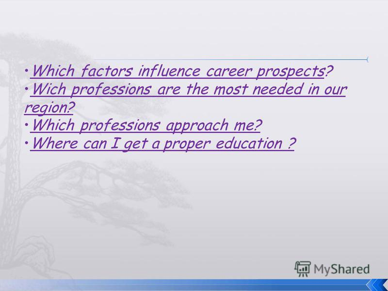 Which factors influence career prospects? Wich professions are the most needed in our region? Which professions approach me? Where can I get a proper education ?