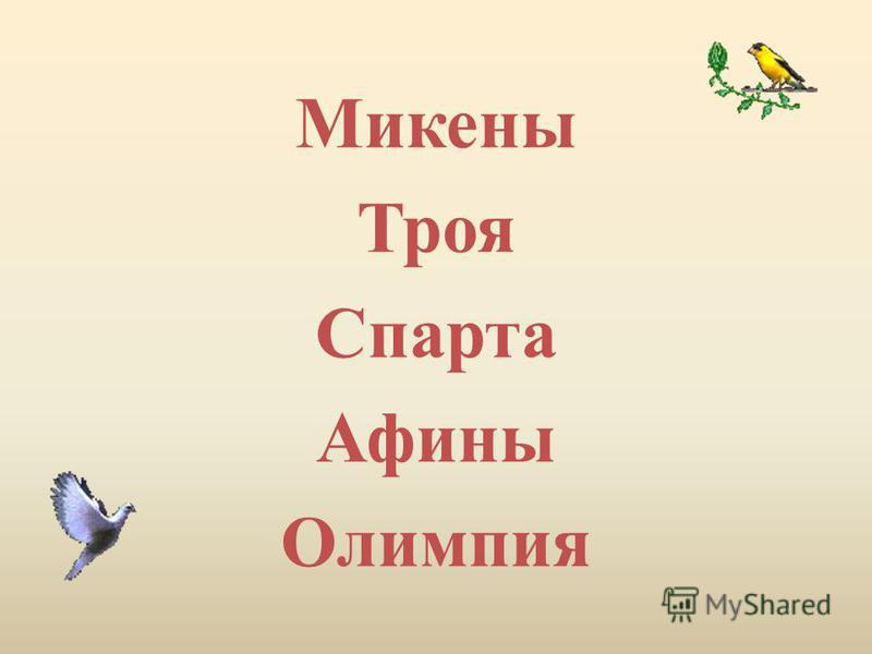 Микены Троя Спарта Афины Олимпия