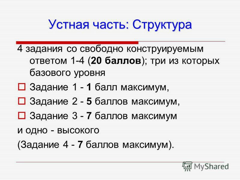 Устная часть: Структура 4 задания со свободно конструируемым ответом 1-4 (20 баллов); три из которых базового уровня Задание 1 - 1 балл максимум, Задание 2 - 5 баллов максимум, Задание 3 - 7 баллов максимум и одно - высокого (Задание 4 - 7 баллов мак