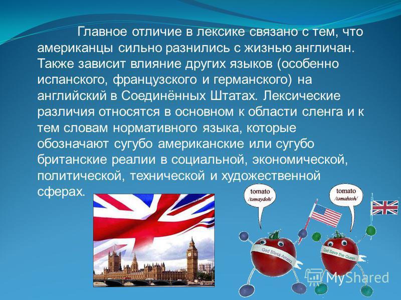 Главное отличие в лексике связано с тем, что американцы сильно разнились с жизнью англичан. Также зависит влияние других языков (особенно испанского, французского и германского) на английский в Соединённых Штатах. Лексические различия относятся в осн