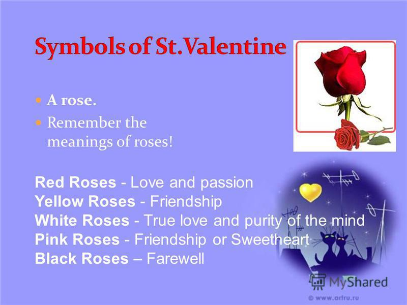 A rose. Remember the meanings of roses! Red Roses - Love and passion Yellow Roses - Friendship White Roses - True love and purity of the mind Pink Roses - Friendship or Sweetheart Black Roses – Farewell