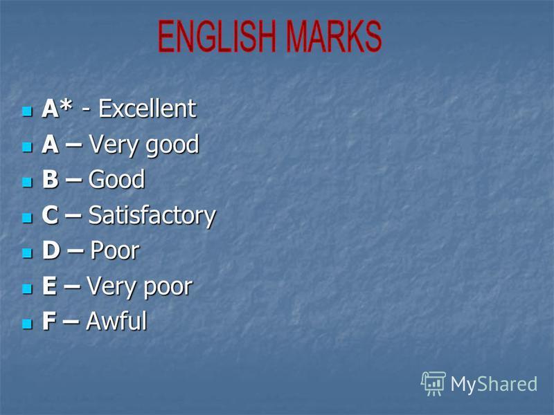 A* - Excellent A* - Excellent A – Very good A – Very good B – Good B – Good C – Satisfactory C – Satisfactory D – Poor D – Poor E – Very poor E – Very poor F – Awful F – Awful