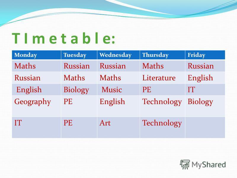 T I m e t a b l e: MondayTuesdayWednesdayThursdayFriday MathsRussian MathsRussian Maths LiteratureEnglish Biology MusicPEIT GeographyPEEnglishTechnologyBiology ITPEArtTechnology