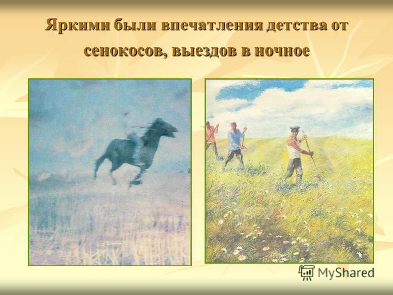 Яркими были впечатления детства от сенокосов, выездов в ночное