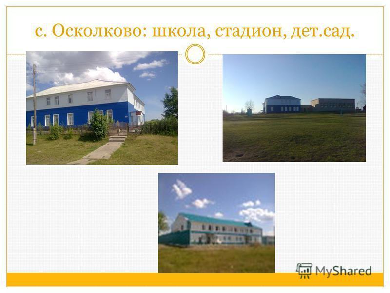с. Осколково: школа, стадион, дет.сад.