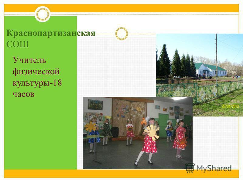 Краснопартизанская СОШ Учитель физической культуры-18 часов