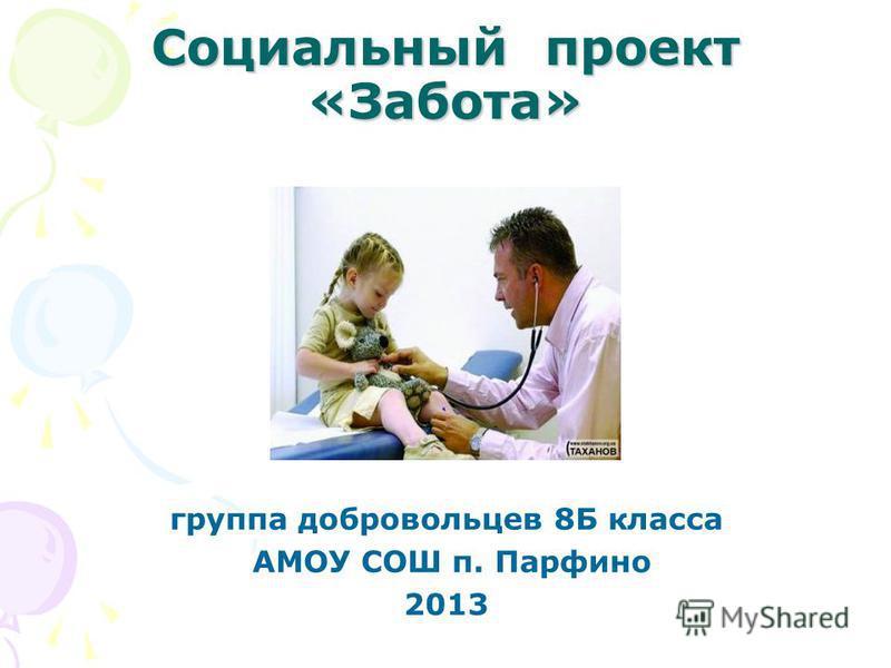 Социальный проект «Забота» группа добровольцев 8Б класса АМОУ СОШ п. Парфино 2013
