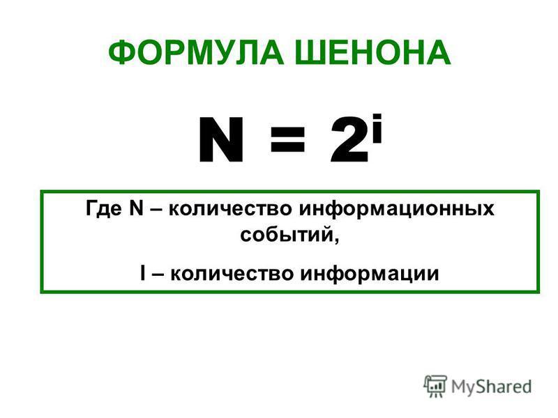 ФОРМУЛА ШЕНОНА N = 2 i Где N – количество информационных событий, I – количество информации
