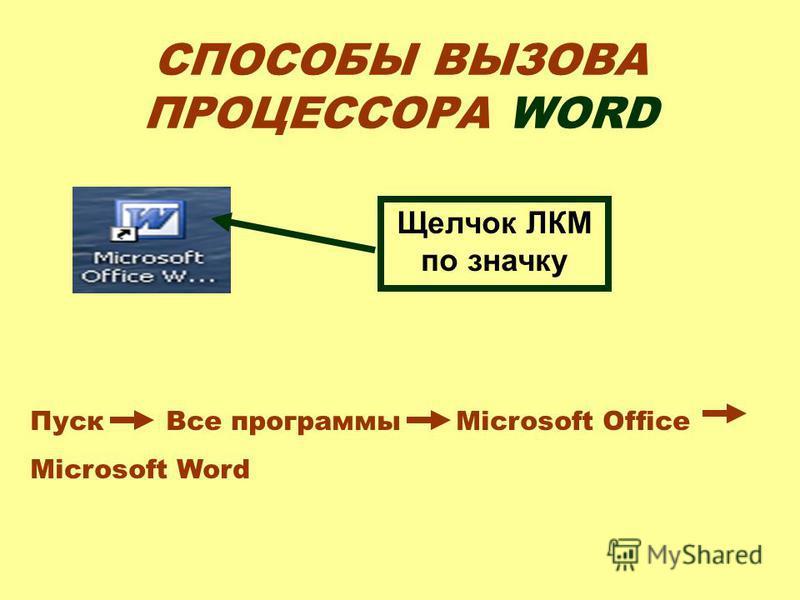СПОСОБЫ ВЫЗОВА ПРОЦЕССОРА WORD Щелчок ЛКМ по значку Пуск Все программы Microsoft Office Microsoft Word