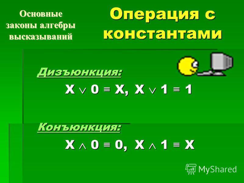 Операция с константами Дизъюнкция: X 0 X, X 1 1 X 0 X, X 1 1Конъюнкция: X 0 0, X 1 X X 0 0, X 1 X Основные законы алгебры высказываний