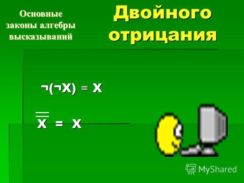 Двойного отрицания ¬(¬X) X ¬(¬X) X Х = Х Основные законы алгебры высказываний
