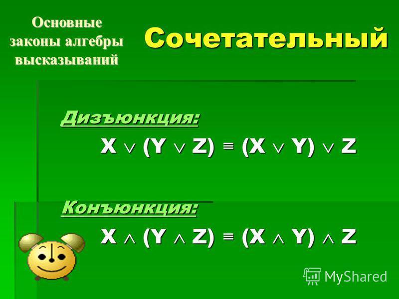 Сочетательный Дизъюнкция: X (Y Z) (X Y) Z Конъюнкция: Основные законы алгебры высказываний