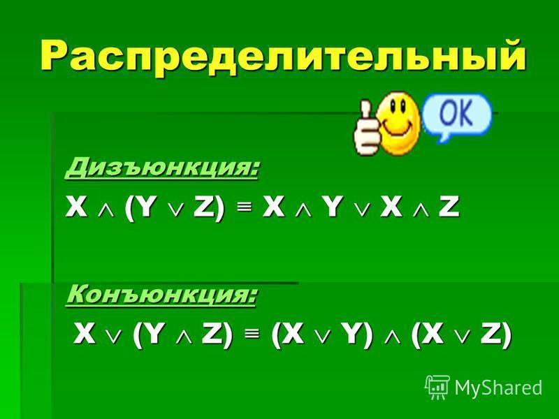 Распределительный Дизъюнкция: X (Y Z) X Y X Z Конъюнкция: X (Y Z) (X Y) (X Z) X (Y Z) (X Y) (X Z)