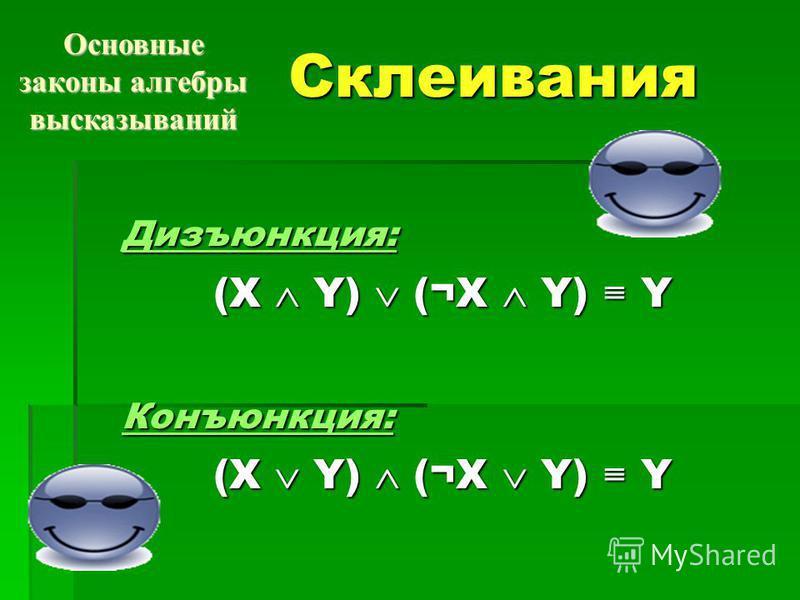 Склеивания Дизъюнкция: (X Y) (¬X Y) Y (X Y) (¬X Y) YКонъюнкция: Основные законы алгебры высказываний
