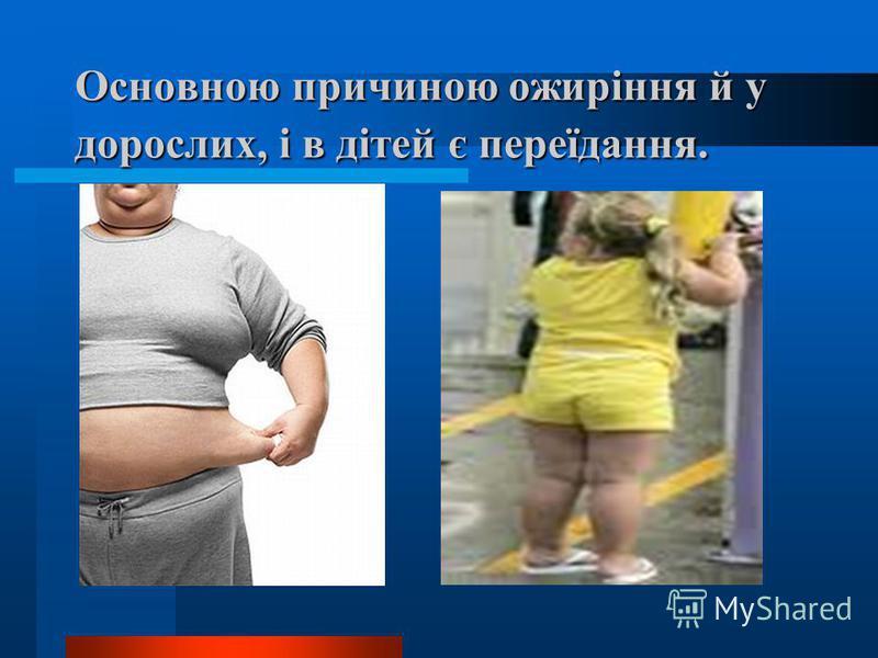 Основною причиною ожиріння й у дорослих, і в дітей є переїдання.
