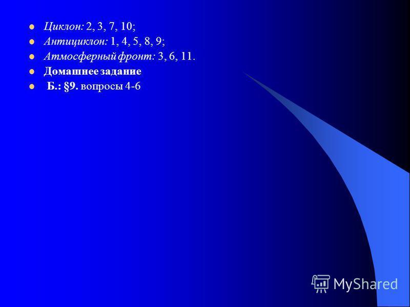 Циклон: 2, 3, 7, 10; Антициклон: 1, 4, 5, 8, 9; Атмосферный фронт: 3, 6, 11. Домашнее задание Б.: §9. вопросы 4-6