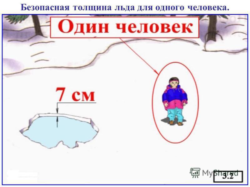 Безопасная толщина льда для одного человека.