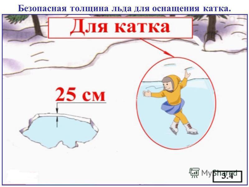 Безопасная толщина льда для оснащения катка.