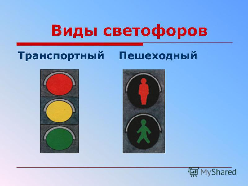 Виды светофоров Транспортный Пешеходный