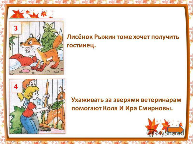 Лисёнок Рыжик тоже хочет получить гостинец. 3 4 Ухаживать за зверями ветеринарам помогают Коля И Ира Смирновы.