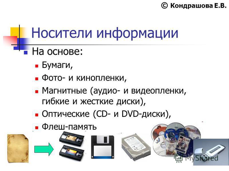 Носители информации На основе: Бумаги, Фото- и кинопленки, Магнитные (аудио- и видеопленки, гибкие и жесткие диски), Оптические (CD- и DVD-диски), Флеш-память © Кондрашова Е.В.