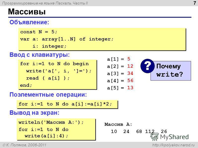 Программирование на языке Паскаль. Часть II К. Поляков, 2006-2011 http://kpolyakov.narod.ru Массивы 7 Объявление: Ввод с клавиатуры: Поэлементные операции: Вывод на экран: const N = 5; var a: array[1..N] of integer; i: integer; const N = 5; var a: ar