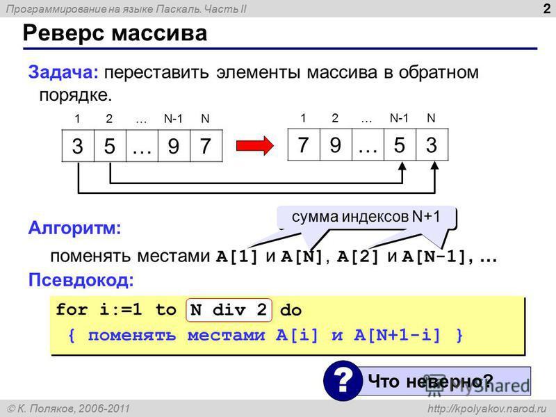 Программирование на языке Паскаль. Часть II К. Поляков, 2006-2011 http://kpolyakov.narod.ru Реверс массива 2 Задача: переставить элементы массива в обратном порядке. Алгоритм: поменять местами A[1] и A[N], A[2] и A[N-1], … Псевдокод: 35…97 79…53 12…N
