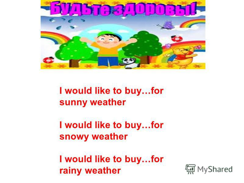 I would like to buy…for sunny weather I would like to buy…for snowy weather I would like to buy…for rainy weather