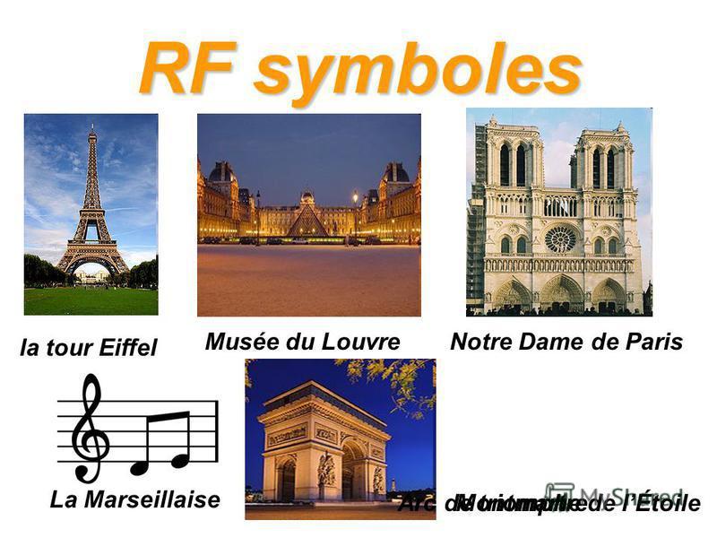 RF symboles la tour Eiffel Musée du LouvreNotre Dame de Paris La Marseillaise MontmartreArc de triomphe de lÉtoile