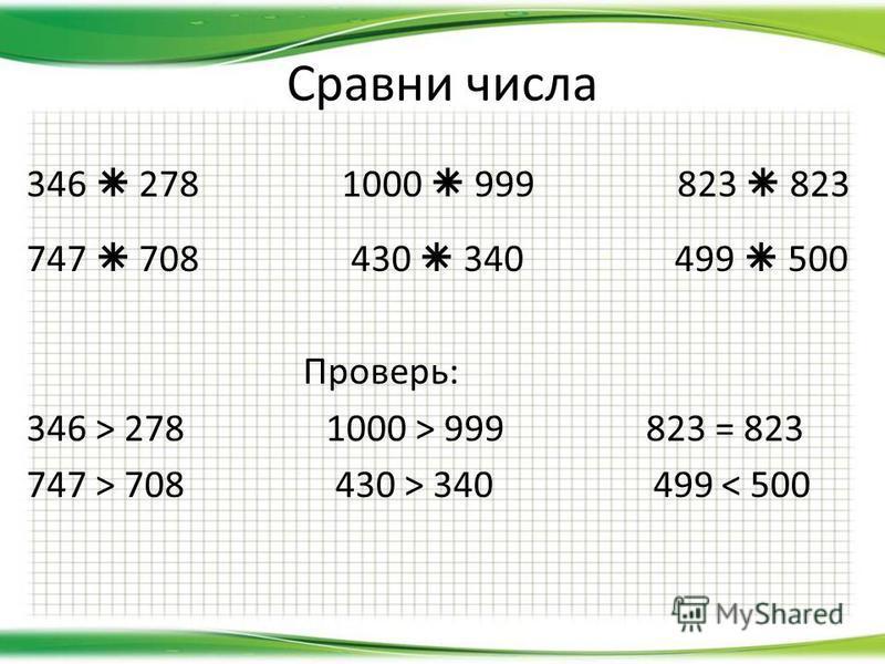 Сравни числа 346 278 1000 999 823 823 747 708 430 340 499 500 Проверь: 346 > 278 1000 > 999 823 = 823 747 > 708 430 > 340 499 < 500