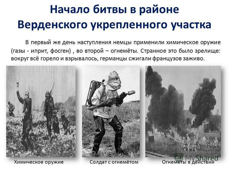 Начало битвы в районе Верденского укрепленного участка В первый же день наступления немцы применили химическое оружие (газы - иприт, фосген), во второй – огнемёты. Странное это было зрелище: вокруг всё горело и взрывалось, германцы сжигали французов
