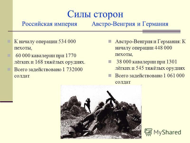 Силы сторон Российская империя Австро-Венгрия и Германия К началу операции 534 000 пехоты, 60 000 кавалерии при 1770 лёгких и 168 тяжёлых орудиях. Всего задействовано 1 732000 солдат Австро-Венгрия и Германия: К началу операции 448 000 пехоты, 38 000