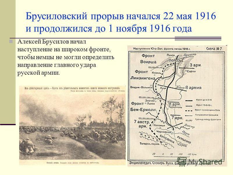 Брусиловский прорыв начался 22 мая 1916 и продолжился до 1 ноября 1916 года Алексей Брусилов начал наступление на широком фронте, чтобы немцы не могли определить направление главного удара русской армии.