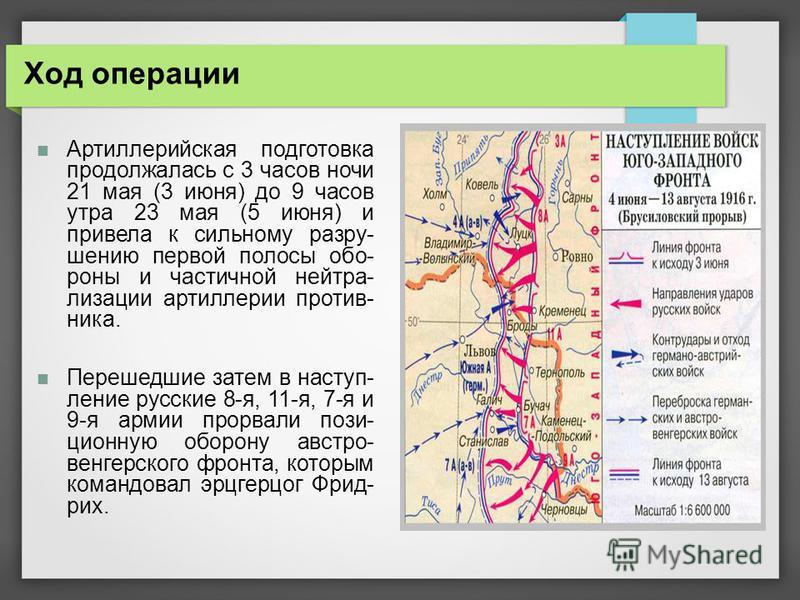Ход операции Артиллерийская подготовка продолжалась с 3 часов ночи 21 мая (3 июня) до 9 часов утра 23 мая (5 июня) и привела к сильному разрушению первой полосы обо- роны и частичной нейтрализации артиллерии против- ника. Перешедшие затем в наступлен