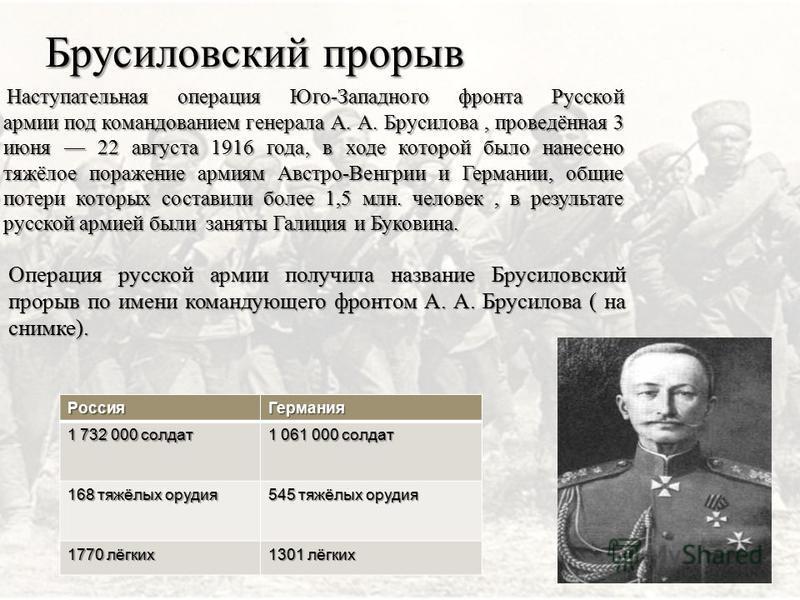 Брусиловский прорыв Наступательная операция Юго-Западного фронта Русской армии под командованием генерала А. А. Брусилова, проведённая 3 июня 22 августа 1916 года, в ходе которой было нанесено тяжёлое поражение армиям Австро-Венгрии и Германии, общие