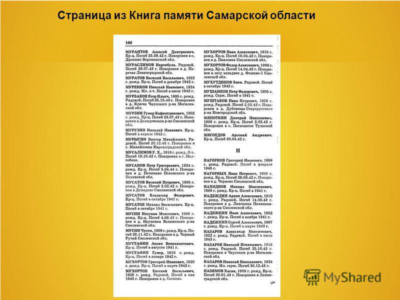 Страница из Книга памяти Самарской области