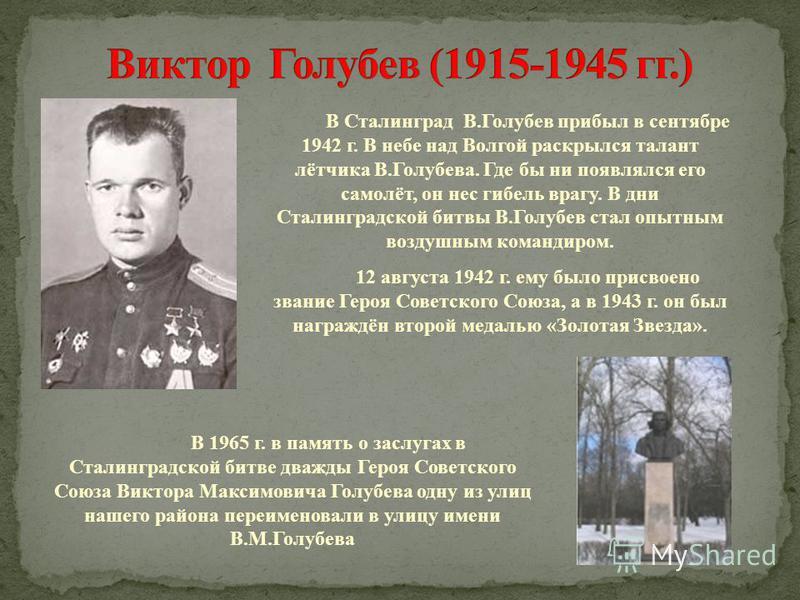 В Сталинград В.Голубев прибыл в сентябре 1942 г. В небе над Волгой раскрылся талант лётчика В.Голубева. Где бы ни появлялся его самолёт, он нес гибель врагу. В дни Сталинградской битвы В.Голубев стал опытным воздушным командиром. 12 августа 1942 г. е