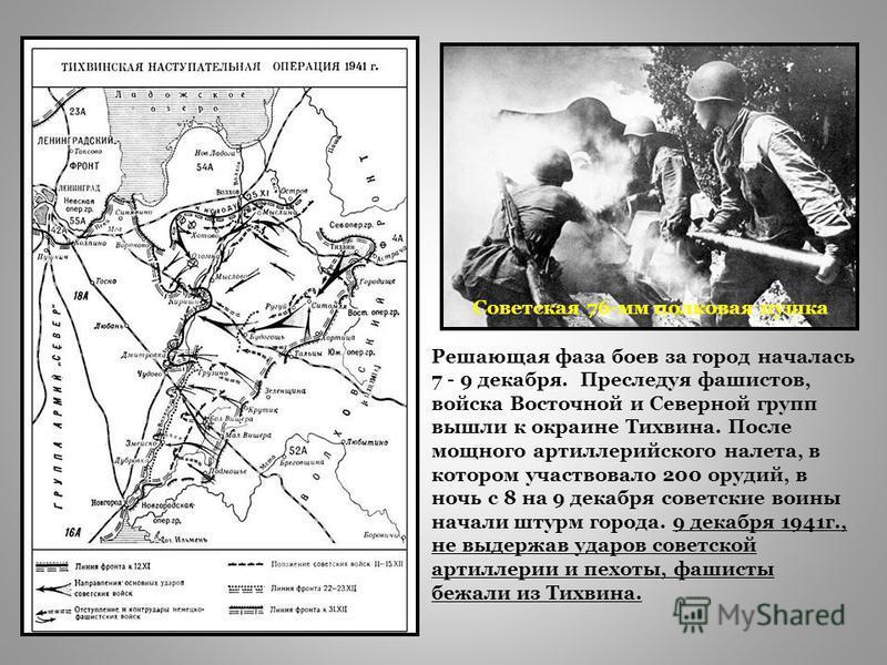 Советская 76-мм полковая пушка Решающая фаза боев за город началась 7 - 9 декабря. Преследуя фашистов, войска Восточной и Северной групп вышли к окраине Тихвина. После мощного артиллерийского налета, в котором участвовало 200 орудий, в ночь с 8 на 9