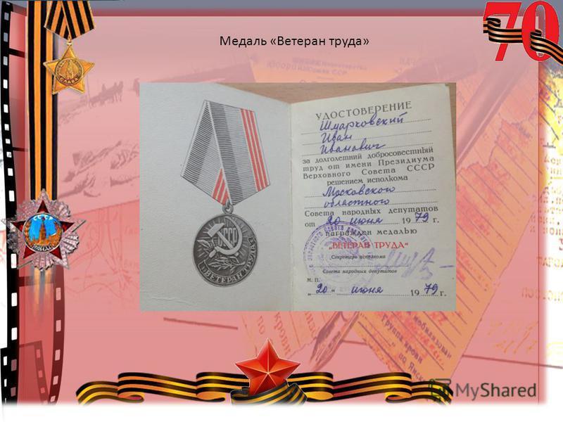 © Топилина С.Н. Медаль «Ветеран труда»