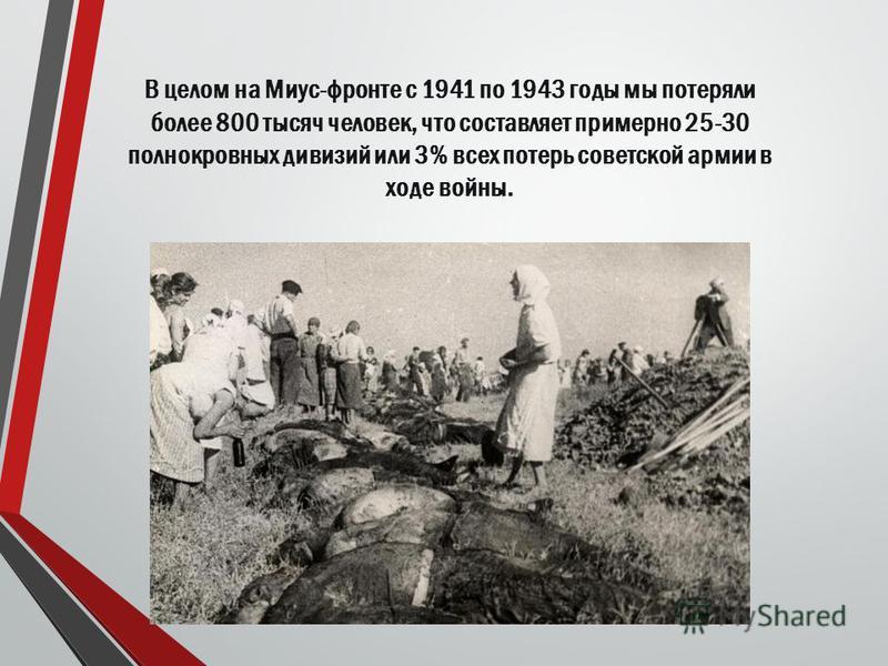 В целом на Миус-фронте с 1941 по 1943 годы мы потеряли более 800 тысяч человек, что составляет примерно 25-30 полнокровных дивизий или 3% всех потерь советской армии в ходе войны.