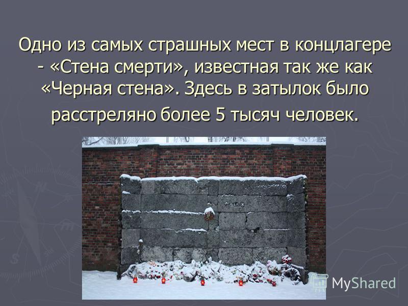 Одно из самых страшных мест в концлагере - «Стена смерти», известная так же как «Черная стена». Здесь в затылок было расстреляно более 5 тысяч человек.