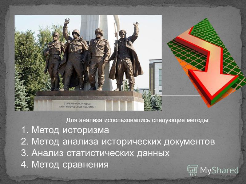 1. Метод историзма 2. Метод анализа исторических документов 3. Анализ статистических данных 4. Метод сравнения Для анализа использовались следующие методы: