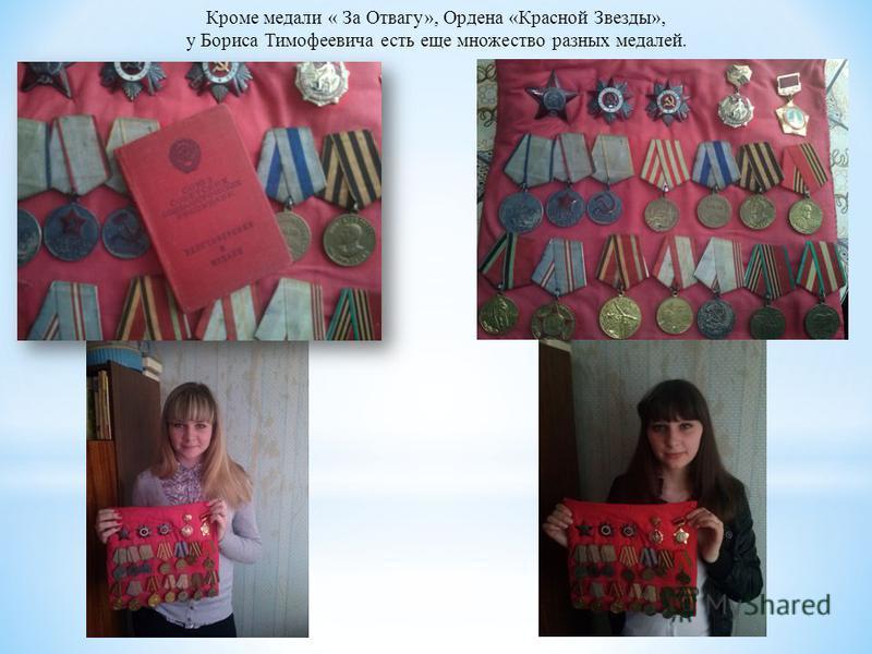 Кроме медали « За Отвагу», Ордена «Красной Звезды», у Бориса Тимофеевича есть еще множество разных медалей.