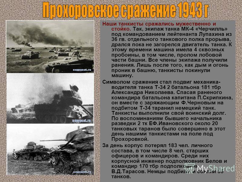 Наши танкисты сражались мужественно и стойко. Так, экипаж танка МК-4 «Черчилль» под командованием лейтенанта Лупахина из 36 гв. отдельного танкового полка прорыва, дрался пока не загорелся двигатель танка. К этому времени машина имела 4 сквозных проб