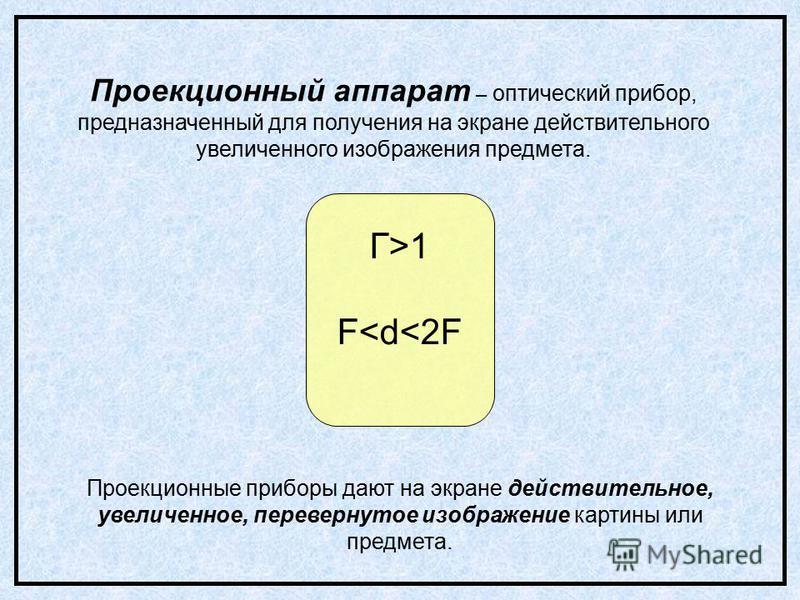 Проекционный аппарат – оптический прибор, предназначенный для получения на экране действительного увеличенного изображения предмета. Проекционные приборы дают на экране действительное, увеличенное, перевернутое изображение картины или предмета. Г>1 F