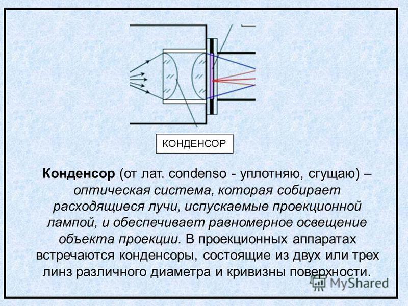 КОНДЕНСОР Конденсор (от лат. condenso - уплотняю, сгущаю) – оптическая система, которая собирает расходящиеся лучи, испускаемые проекционной лампой, и обеспечивает равномерное освещение объекта проекции. В проекционных аппаратах встречаются конденсор