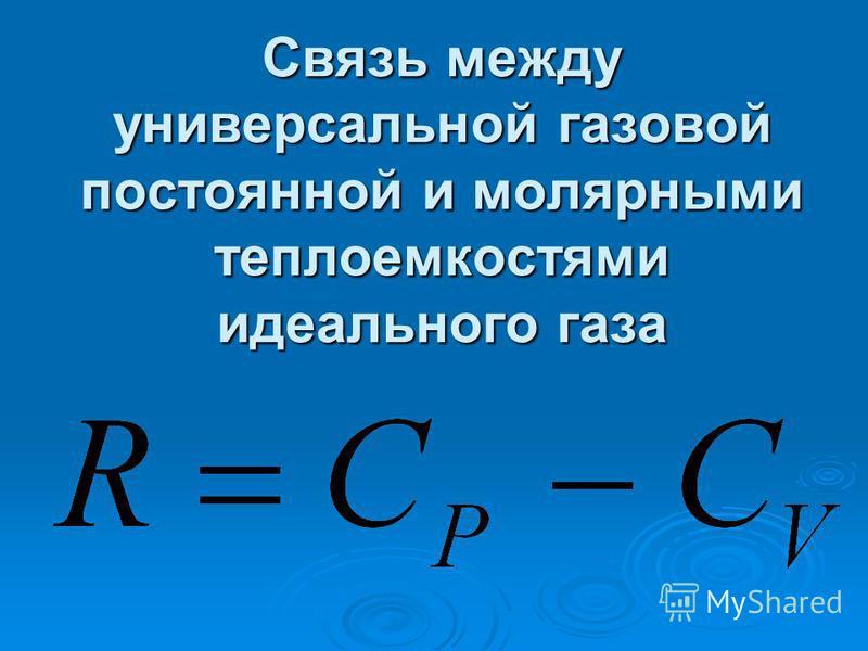 Связь между универсальной газовой постоянной и молярными теплоемкостями идеального газа