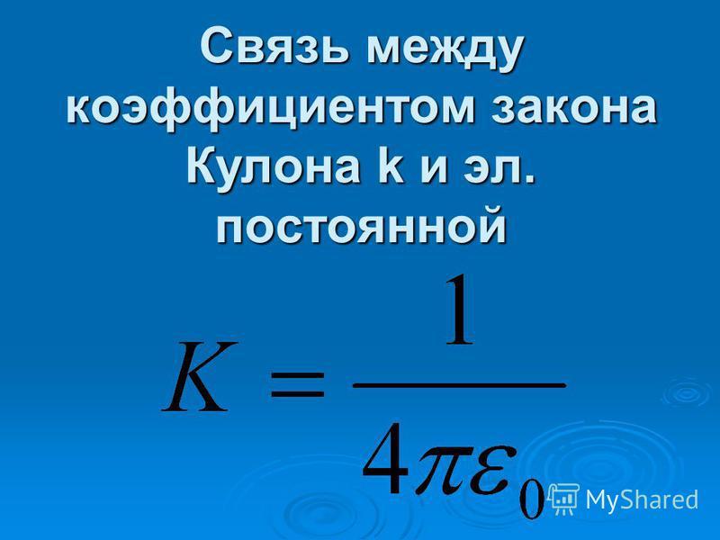 Связь между коэффициентом закона Кулона k и эл. постоянной