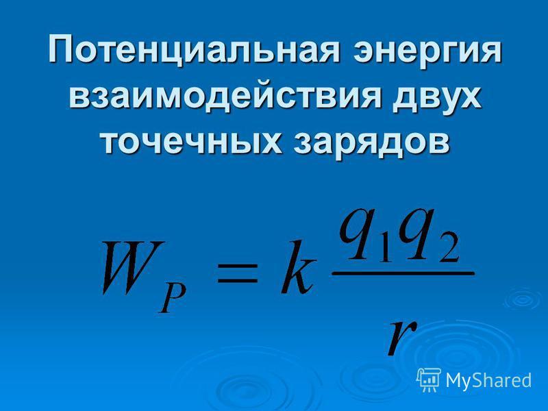 Потенциальная энергия взаимодействия двух точечных зарядов