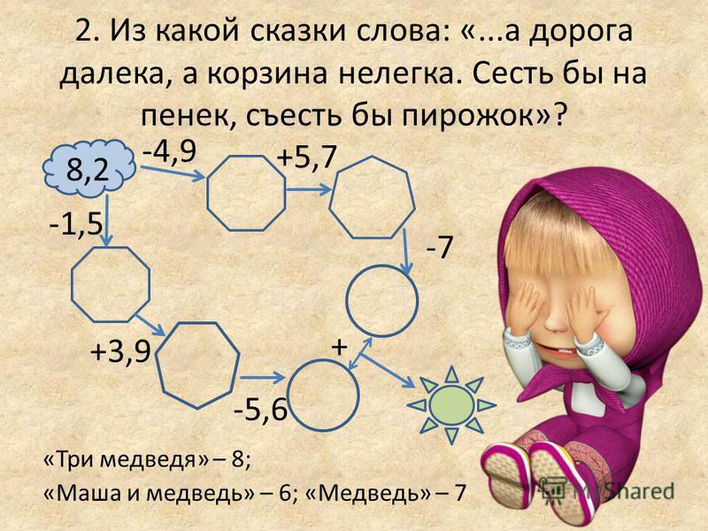2. Из какой сказки слова: «...а дорога далека, а корзина нелегка. Сесть бы на пенек, съесть бы пирожок»? «Три медведя» – 8; «Маша и медведь» – 6; «Медведь» – 7 8,2 +5,7 -4,9 -7 + -1,5 -5,6 +3,9